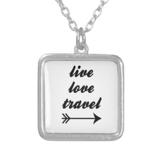 Live Love Travel Silver Plated Necklace