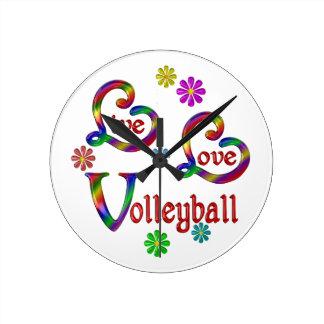 Live Love Volleyball Round Clock
