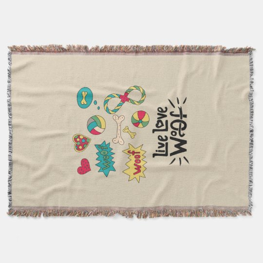 Live Love Woof Whimsical Woven Blanket
