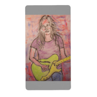 Live Music Girl Sketch Shipping Label