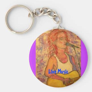 Live Music Basic Round Button Keychain