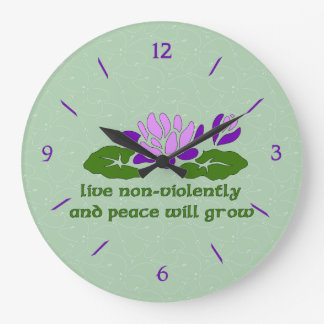 Live Non-Violently Large Clock