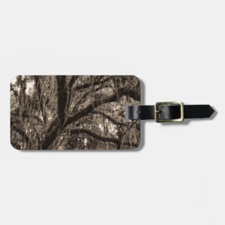Live Oak and Spanish Moss in Sepia Tones Luggage Tag