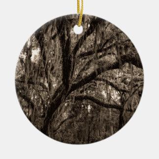 Live Oak and Spanish Moss in Sepia Tones Round Ceramic Ornament