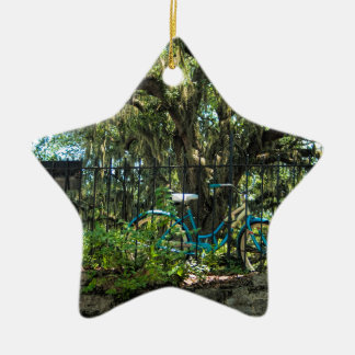 Live Oak Tree and Classic Bicycle Ceramic Star Ornament