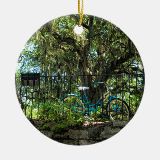 Live Oak Tree and Classic Bicycle Round Ceramic Ornament