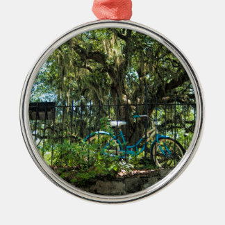 Live Oak Tree and Classic Bicycle Silver-Colored Round Ornament