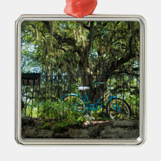 Live Oak Tree and Classic Bicycle Silver-Colored Square Ornament
