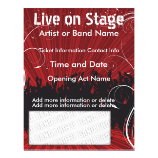 Live on Stage Red  Music Flyer