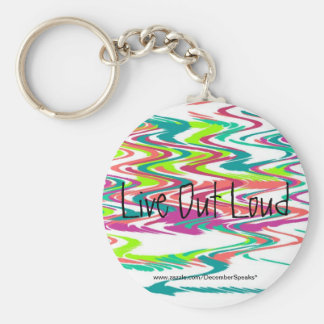 Live out loud basic round button keychain