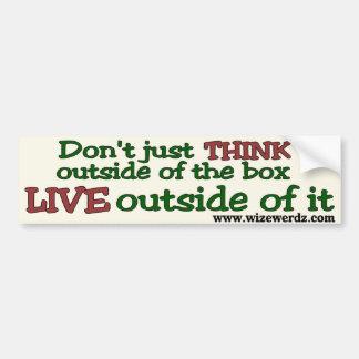 Live Outside The Box bumper sticker - light