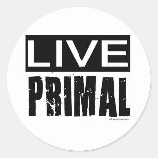 live primal / paleo diet round sticker