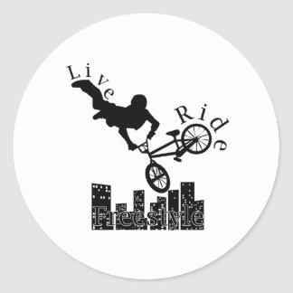 Live, Ride, Freestyle Classic Round Sticker