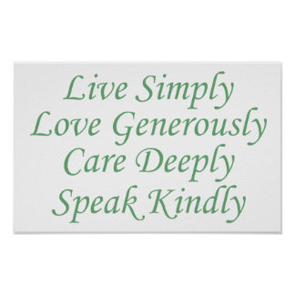 Live Simply green Poster