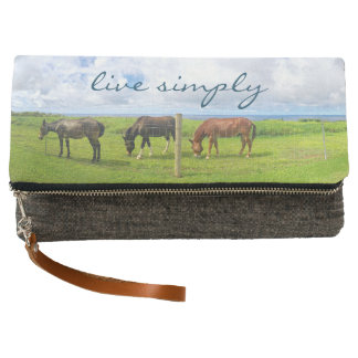 """""""Live simply"""" Hawaii horses photo fold-over clutch"""