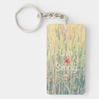Live Simply Rectangular Acrylic Keychains