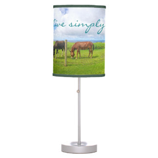 """Live Simply"" Quote Hawaii Horses Landscape Photo Table Lamp"
