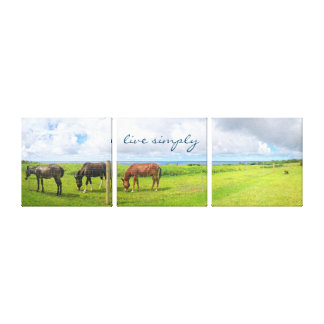 """""""Live Simply"""" Quote Hawaii Horses Photo Tryptic Canvas Print"""