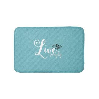"""Live Simply"" Text Farmhouse Decor Bath Mat"