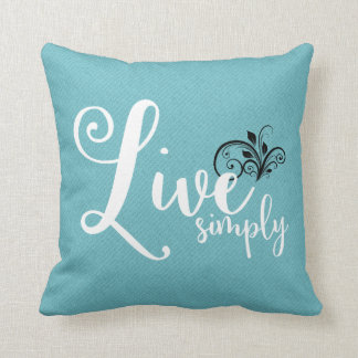 """Live Simply"" Text Farmhouse Style Throw Pillow"