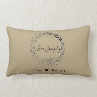 Live Simply Wreath - Customized Name/Est Date Lumbar Pillow