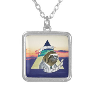 LIVE SLOW, DIE WHENEVER SILVER PLATED NECKLACE