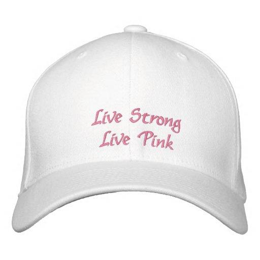 Live Strong Live Pink Survivor Embroidered Baseball Cap