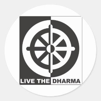 Live the Dharma Round Sticker