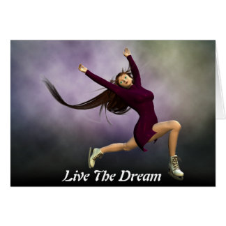 Live The Dream Girl Ice Skating Greetings Card