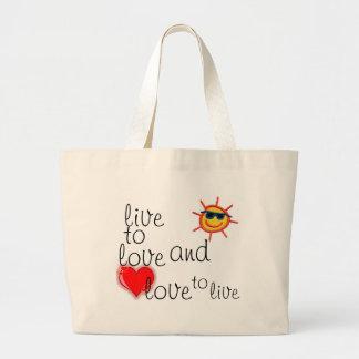 live to love jumbo tote bag