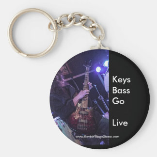 Live to Play Bass Basic Round Button Keychain