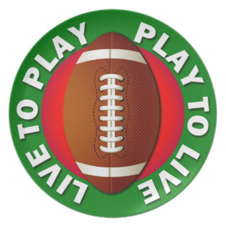 Live To Play Play To Live Football Plate