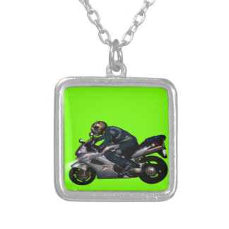 Live To Ride Motorbiker Silver Plated Necklace