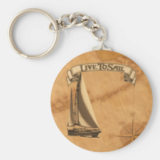 Live To Sail Basic Round Button Keychain
