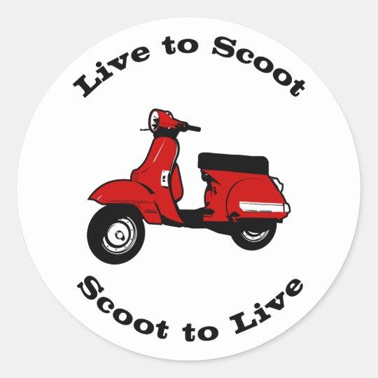 Live to Scoot Round Sticker