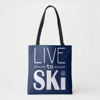 Live to Ski bag - navy blue