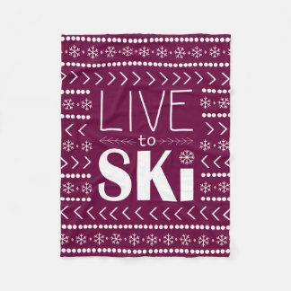Live to Ski blanket - raspberry