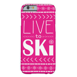 Live to Ski phone case - hot pink