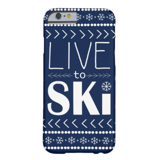 Live to Ski phone case - navy blue