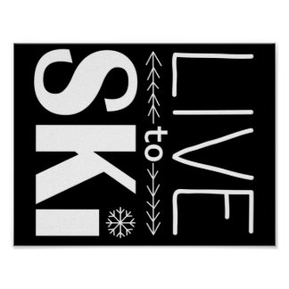 Live to Ski poster (basic) - black