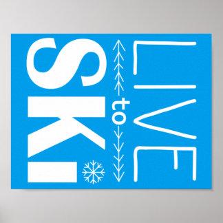 Live to Ski poster (basic) - blue
