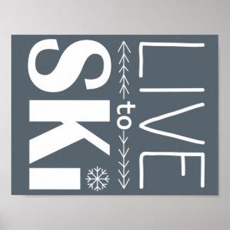 Live to Ski poster (basic) - grey