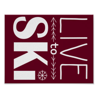 Live to Ski poster (basic) - red