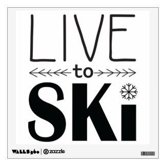 Live to Ski wall decal - white