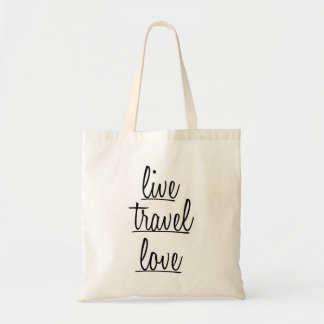 """Live, Travel, Love"" Typography in Black Budget Tote Bag"