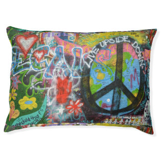 Live Upside Down Peace Sign Wall Pet Bed