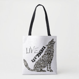 "Live Urban ""Howling Wolf"" All-Over-Print Tote Bag"