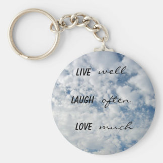 live well laugh often love much basic round button keychain