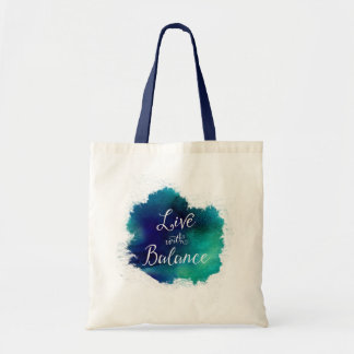 Live With Balance Zen Watercolor Tote Bag
