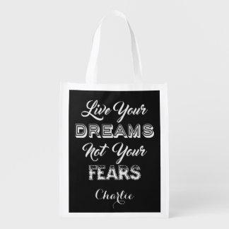 Live Your Dreams custom name & color reusable bag Grocery Bags
